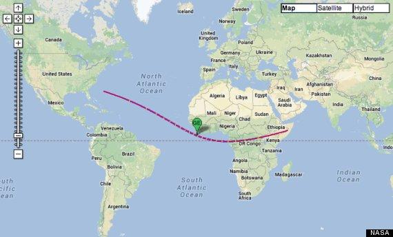 The path of the hybrid solar eclipse, via NASA.